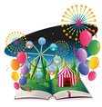 A book with an image of a carnival with balloons vector image vector image