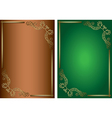 green and brown backgrounds with golden decoration vector image vector image