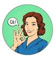 Woman says okay in the circle pop art comics vector image