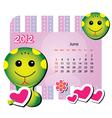 june animal calendar vector image
