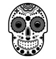 Day of the dead sugar skull with ornament bright vector image