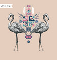 ethnic style composition with flamingo hand drawn vector image
