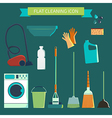 Flat color character set House cleaning and laundr vector image