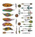 set of ethnic elements modern romantic boho style vector image