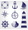 Set of vintage nautical labels icons and design vector image