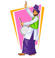 Sikh punjabi sardar playing dhol and dancing vector image