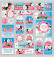 spring rose flower gift tag and greeting card set vector image
