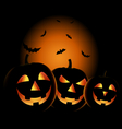 Halloween night with grinning pumpkins background vector image