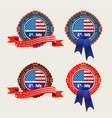 badge with usa flag and blue and red ribbons vector image
