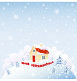 Cute house in winter time vector image vector image