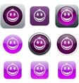 Smiley purple app icons vector image