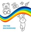 background of joyful baby holds rainbow vector image
