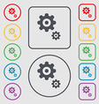 gears icon sign symbol on the Round and square vector image