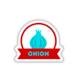 label icon on design sticker collection onion with vector image