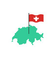 switzerland map and flag swiss state sign vector image