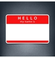 Red name tag blank sticker HELLO vector image