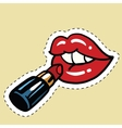 Red lipstick applied to the lips vector image