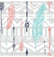 Seamless Aztec Tribal pattern with feather and vector image