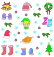 Doodle of Christmas set color vector image