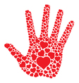 Hand print with hearts vector image