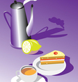 teatime with cake and lemon vector image vector image