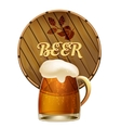 Mug of frothy beer with a barrel vector image