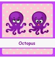 Octopus funny characters on a pink background vector image