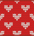 tile knitting pattern with white hearts on red bac vector image
