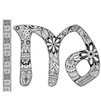 letter M decorated in the style of mehndi vector image vector image