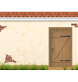 old wall grass and wooden door vector image