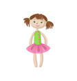 cute soft doll with brown hair sewing toy cartoon vector image