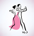 dancing couple outlined sketch vector image