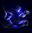 Hockey goalie on a dark background vector image