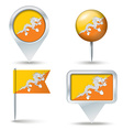 Map pins with flag of Bhutan vector image