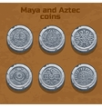 old silver aztec and Maya coins game element vector image