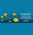 sea dwellers banner horizontal concept vector image