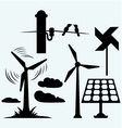 Solar panel and windmill wires on a pole vector image vector image