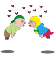 Cartoon love scene vector image