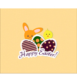 Easter card with bunny chicken and eggs vector image