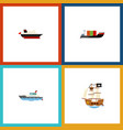 flat icon vessel set of cargo vessel sailboat vector image