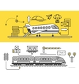 Freight Forwarding by Air and Rail Train vector image