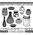 Set of hand drawing Ware Indians of North America vector image