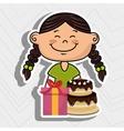 girl cake gift box vector image