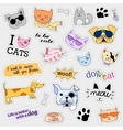 Fashion patch badges Cat and dog set Stickers vector image