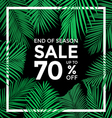 End of season sale banner Plam leaves with with b vector image vector image