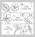 sketch floral internet shop horizontal banners vector image