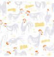 seamless pattern with roosters ink artistic vector image