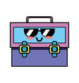 kawaii cute funny suitcase design vector image