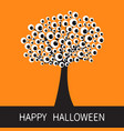 happy halloween card black tree silhouette branch vector image
