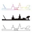 Seville skyline linear style with rainbow vector image